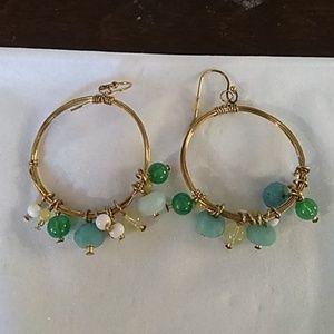 Brass and blue lapis bead hoop drop earrings